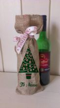 Personalized Tree Wine Father Christmas Xmas Santa Sack / Stocking Bag Jute Hessian.